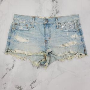 Abercrombie & Fitch Distressed Raw Hem Jean Shorts